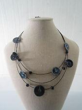 collana  girocollo 3 cavetti neri e componenti tondi in ceramica blu e strass