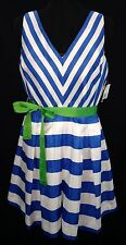 NWT - Women's Kim Rogers Royal/White Striped Fit & Flare Belted Dress - Sz 14P