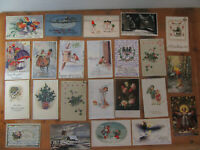 23x alte Glückwunschkarte Neujahr Neujahrskarte Ansichtskarte vor 1930