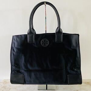TORY BURCH Solid Black Ella Nylon Tote Bag Small Logo