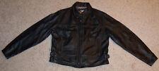Women's Harley Davidson Graphic Sleeve Black Leather Jacket Coat LARGE, L