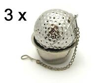 Stainless steel golf ball shaped tea infuser with caddy, *** Set of 3 pieces ***