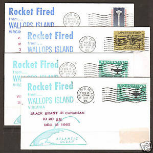 US, 1962, 4 different Wallops Island, Virginia, ROCKET FIRED Covers,