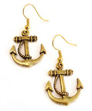 Ahoy Sailor! NAUTICO Anchor earrings-vintage GOLD jewellery-jewelry-rope Charm