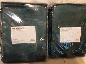 West Elm Two (2) Luster Velvet Curtains 48x96 Green Gables NEW! Teal