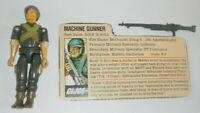 1982 GI Joe Machine Gunner Rock N Roll Straight Arm v1 Figure File Card No Bipod