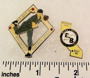 2 Little League Baseball PINs - CA D46 1988 Elks-Bolsa & NE Garden Grove