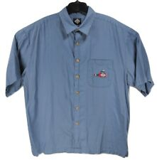 TABASCO Mens SIZE XXL Blue Short Sleeve Button Up Shirt Mosquito Drinking Sauce
