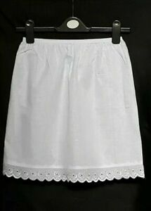 "White Black Underskirt UK 6-18 Pure Cotton Half Slip 16"" Petticoat WAIST SLIP"