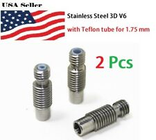 2 PCS Stainless Steel 3D V6 Heat Break Hotend Throat with Teflon tube for 1.75 m
