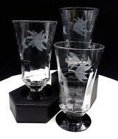 "WESTON GLASS LOUIS PANEL OPTIC FLORAL BLACK AMETHYST 3 PIECE 5 1/4"" TUMBLERS"