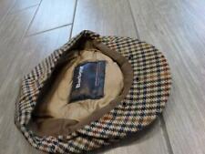 BARBOUR newsie TWEED hat cap SMALL houndstooth WOOL cabbie