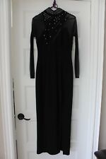Vintage*LORI ANN*Montreal*Black Long Sleeve Gown*Front Slit*Size 5-6*Canada*