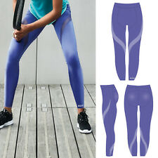 Large  Shock Absorber Activewear Full Length Leggings Waterfall Purple Womens
