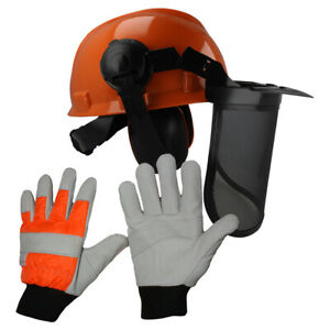 Chainsaw Forestry Helmet & Large Gloves For Users With STIHL Chainsaws