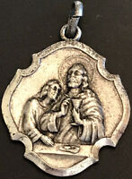 Vintage Catholic First Communion Remembrance Silver Tone Medal Italy