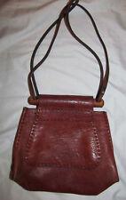 vintage 60's hippie boho leather wooden frame rustic ren shoulder bag