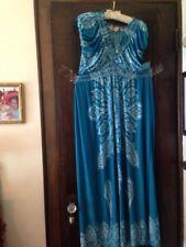 New Jessica Taylor Maxi Dress 3X Aqua Blue Abstract Print Stretch Knit Plus Size