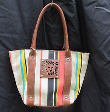 Anne Klein Handbag Pocketbook Purse Striped Canvas Lion