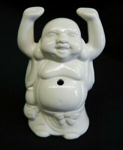 White Ceramic Buddha Figurine Incense Holder Drink Container
