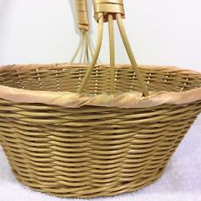 "SKALNY Large Round 12 x 6"" Faux WICKER Woven Cane BASKET Fruit Holiday w/ Handle"