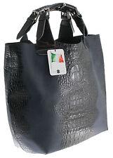 Chicca Borse italy borsa a mano sacca stampa coccodrillo vera pelle blu 9007/1