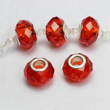 10 Murano Lampwork Big Hole Glass Beads Fit European Charm Bracelet 14x9mm DIY