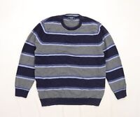 Maine Mens Grey Striped Knit Pullover Jumper Size L