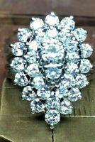 VTG 14KW GOLD DIAMOND COCKTAIL DINNER CLUSTER RING, 2 + CARAT DIAMOND CLUSTER
