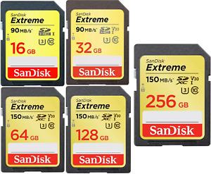 SanDisk Extreme 32/64/128/256GB SDHC SDXC UHS-I SD Memory Card C10 U3 V30 4K UHD