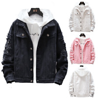 Mens Fashion Casual Denim Pink Tops Slim Fit Jeans Jacket Hole Ripped Coats Teen
