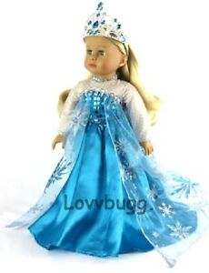 Queen Elsa Gown Tiara Frozen for American Girl 18inch Doll $1 TO SHIP ADD-ONS!🐞