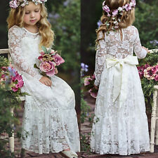 Flower Girls Kids Long Sleeve Bowknot Dress Wedding Bridesmaid Princess Dresses