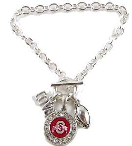 Ohio State Buckeyes Multi Charm Love Football Red Silver Bracelet Jewelry OSU
