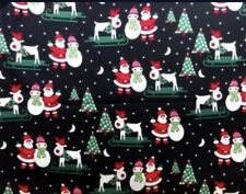 Festive Father Christmas Santa 100% Cotton Fabric Material BY HALF METRE x 112cm