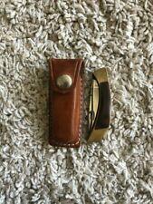 Browning Sportsman Two Blade Vintage Lockback Sport Leather Case Excellent