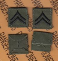 US Army Enlisted CORPORAL CPL E-4 OD Green & Black rank patch set sewn C