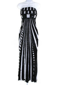 Elie Saab Womens Sequined Striped Strapless Formal Gown Dress Black Size 38