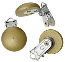 5pcs Wooden Baby Pacifier Holder Clip Round Dyed Golden 4.4cm x 2.9cm