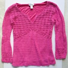 Lilly Pulitzer Solid Pink Lined Crochet V-Neck Sweater Womens Size XS