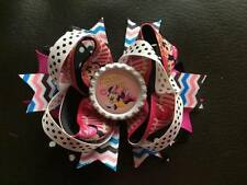 1 X 4.5 INCH MINNIE MOUSE RING HAIR BOW WHITE BOTTLE CAP CENTRE + ALIGATOR CLIP