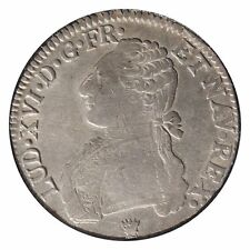 Rare! 1785-L France Silver ECU Coin Louis XVI Branches D'Olivier KM 564.7 VF/XF