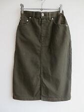 "Vintage khaki green denim pencil skirt, high waist, utility, 8, W 25"""