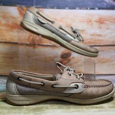 Sperry Top-Sider Womens Leather Bluefish 2 Eye Linen Oat 9276619 Boat Shoes 9 M
