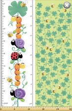 Leif by SusyBee Cotton Quilt fabric Ladybug Snail Caterpillar Bee Growth Panel