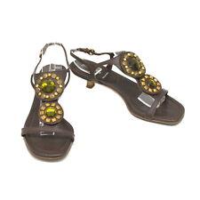 Authentic Miu Miu Leather Heel Sandals Shoes Pumps Brown Women Ladies 36 Italy