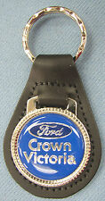 Dark Blue Ford CROWN VICTORIA Black Leather Keyring Top Oval 1971 1972 1973 1974