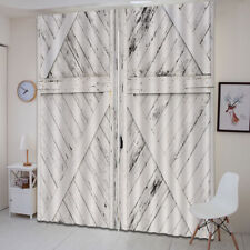 White Rustic Barn Wood Door 3D Curtain Blockout Drapes Fabric Window Photo Print