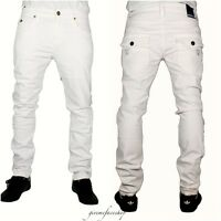 Mens white jeans, g skinny, straight rock star, slim fit designer Blue stripe