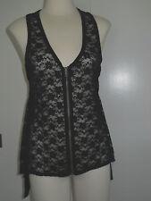 Xhilaration Black Lace Zip Front Vest Sheer Top M NWT